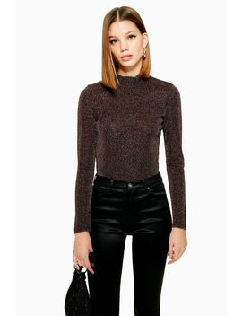 Metallic Thread Funnel Neck Top by Topshop