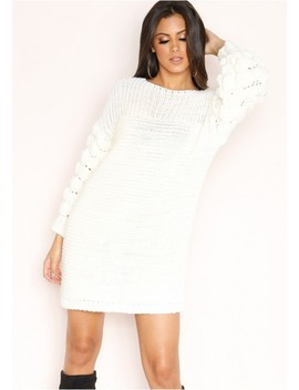 Fern Cream Chunky Knit Jumper Dress by Missy Empire