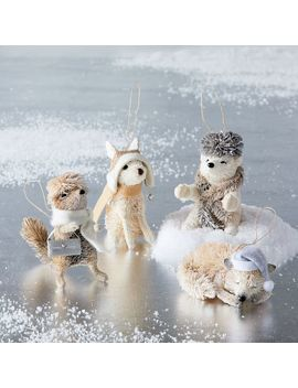 Bottle Brush Winter Animal Ornaments by West Elm