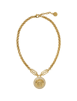 Gold Medusa Coin Chain Necklace by Versace