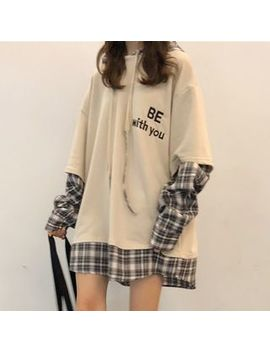 Melon Juice   Plaid Panel Hoodie Dress by Melon Juice