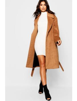Belted Brushed Wool Look Coat by Boohoo