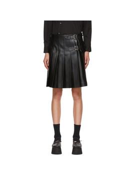 Black Faux Leather Back Panel Skirt by Comme Des GarÇons Homme Plus