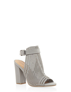 Laser Cut Block Heel Mule Sandals by Rainbow