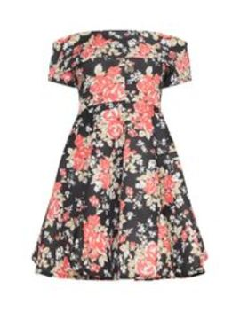 Black Floral Bonded Scuba Bardot Skater Dress by Prettylittlething