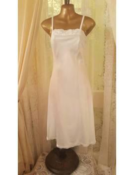 Vintage White Silky Glossy Slip Nightdress Size 10 by Ebay Seller