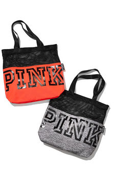 Pink 					 					New! Mesh Tote by Victoria's Secret