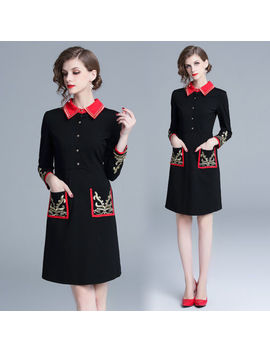 Autumn Women's Fashion Temperament Embroidery High Waist Turn Down Collar Dress by Unbranded
