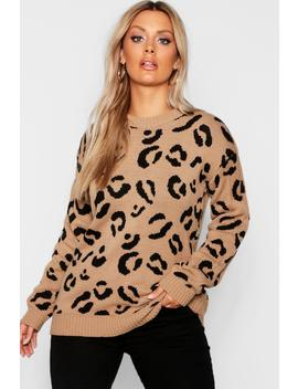 Plus Leopard Knitted Jumper by Boohoo