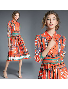 18autumn Women's Fashion Temperament Stand Collar Bowknot Printing Pleated Dress by Unbranded