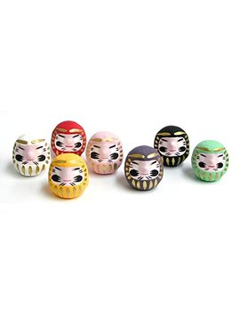 Miniature Daruma Doll (Japanese Good Luck Charm) Seven Colors Set by Wa Zakka