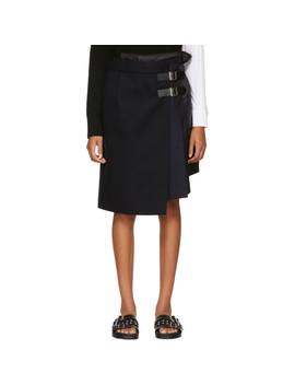 Navy Wool Combo Wrap Skirt by Sacai