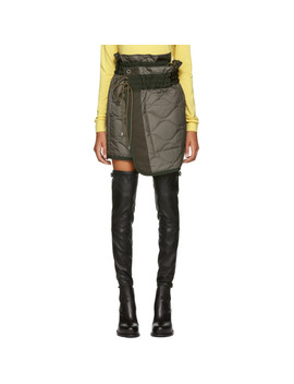 Khaki Quilted Nylon Wrap Miniskirt by Sacai