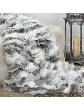 Sumptuous Luxury Faux Fur Throw Blanket   Designer Quality   Fur Accents   Made In America (58''x80'', Pewter Tibetan Fox) by Fur Accents