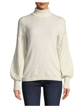 Cashmere Pointelle Balloon Sleeve Sweater by Neiman Marcus Cashmere Collection