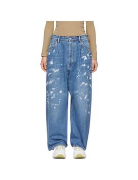 Blue Blå Konst Oversized Paint Jeans by Acne Studios