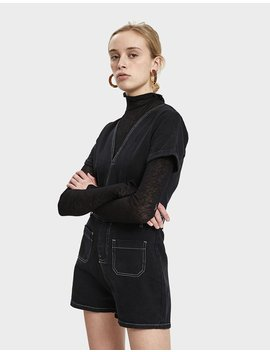 Yassin Denim Romper In Black by Farrow
