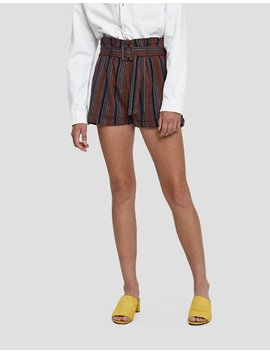 Jazlyn Striped Linen Shorts by Farrow