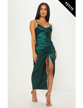 Petite Emerald Green Satin Strappy Ruched Maxi Dress by Prettylittlething