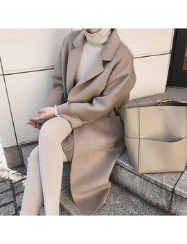 2018 Autumn Winter Elegant Womens Wool Blend Coat Turn Down Collar Slim Belt Coats Female Long Overcoat Plus Size by Ali Express