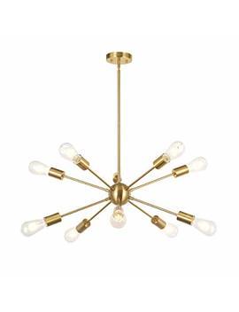 Bonlicht Sputnik Chandelier 10 Light Brushed Brass Modern Pendant Lighting Gold Industrial Vintage Ceiling Light Fixture Ul Listed by Bonlicht