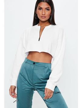 White Petite Oversized Zip Front Crop Sweatshirt by Missguided