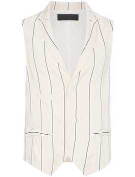 Haider Ackermannsleeveless Striped Waistcoat Home Men Haider Ackermann Clothing Waistcoats & Gilets Black Croc Gold Buckle Leather Monk Shoes Exposed Stitch Trousers Oversized Floral Patch Shirtsleeveless Striped Waistcoat by Haider Ackermann
