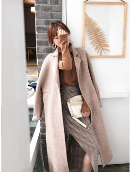 2018 Autumn Winter Warm Coat Women  Pocket Wool &Blend Coat Oversize Loose Casual Elegant Trench Coat Outwear Wool Coat by Ali Express
