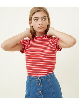 Girls Red Stripe High Neck Ribbed Top by New Look