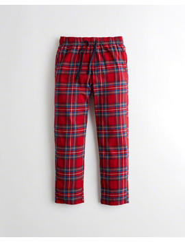 Plaid Straight Leg Flannel Sweatpants by Hollister