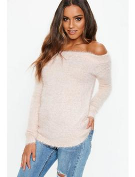 Pink Fluffy Bardot Jumper by Missguided