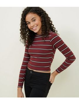 Girls Burgundy Stripe Ribbed High Neck Top by New Look