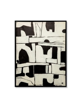 "26""X20"" Abstract Black And White Framed Wall Canvas   Project 62™ by Project 62™"