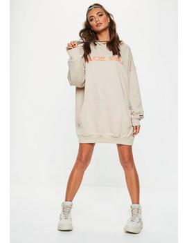 Nude Slogan Detail Oversized Hooded Dress by Missguided