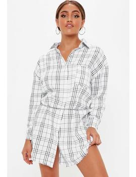 white-oversized-checked-shirt-dress by missguided