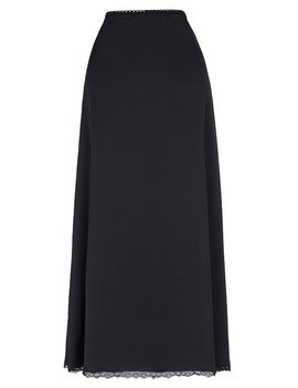 Black Womens Long Skirt Comfortable Satin Waist Slip Half Slip Undergarment Plus Size Sexy Bodycon Office Vintage Skirt by Belle Poque