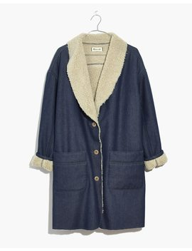 Sherpa Bonded Denim Cocoon Coat by Madewell