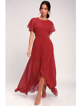 Bohemian Rhapsody Brick Red Cutout High Low Dress by Ali & Jay