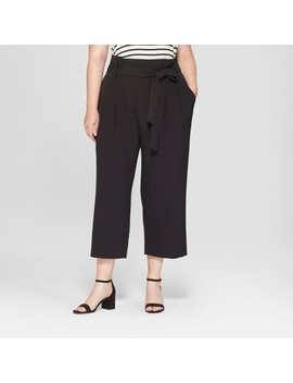 Women's Plus Size Tie Waist Crop Pants   A New Day™ Black by A New Day™