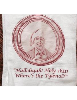 "Funny Holiday Christmas Tea Towel: ""Hallelujah! Holy Shit! Where's The Tylenol?"" by Etsy"
