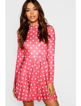 High Neck Long Sleeve Polka Dot Skater Dress by Boohoo