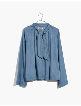 Denim Tie Neck Popover Shirt by Madewell