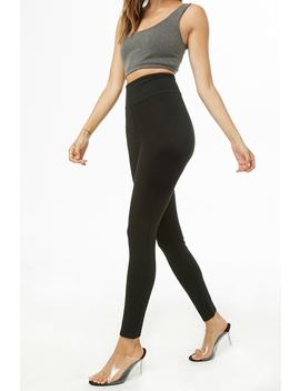 Knit High Rise Leggings by Forever 21