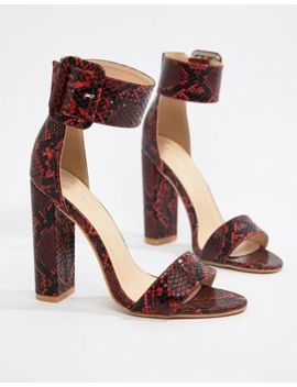 Pretty Little Thing Block Heel Sandals In Snake by Pretty Little Thing