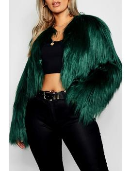 Plus Crop Shaggy Faux Fur Jacket by Boohoo