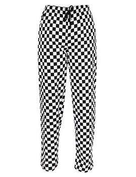 Chefs Trousers With Fully Elasticated Waist, Black & White Chessboard Print Ins14 B by Instex