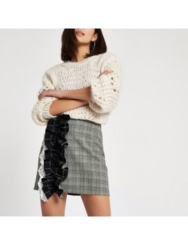 Grey Check Print Ruffle Mini Skirt by River Island
