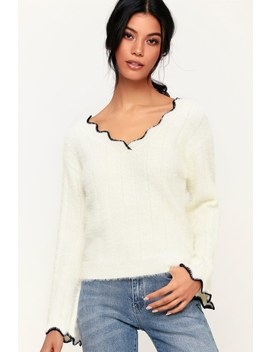 Calum Ivory Fuzzy Sweater by Lulus