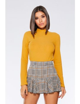 Mustard Rib Turtle Neck Long Sleeve Top by Quiz