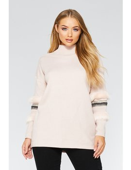 Pale Pink Knit Aztec Detail Jumper by Quiz